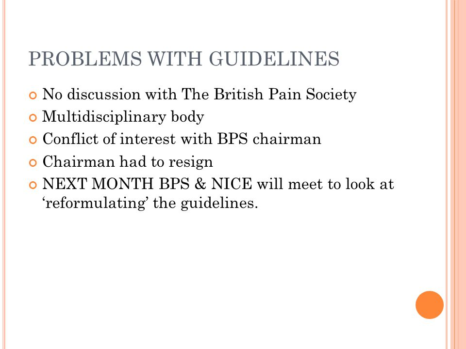 PROBLEMS WITH GUIDELINES