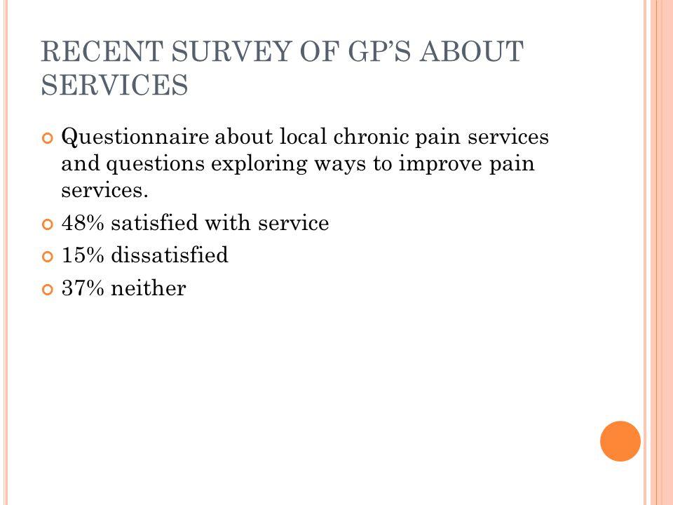 RECENT SURVEY OF GP'S ABOUT SERVICES