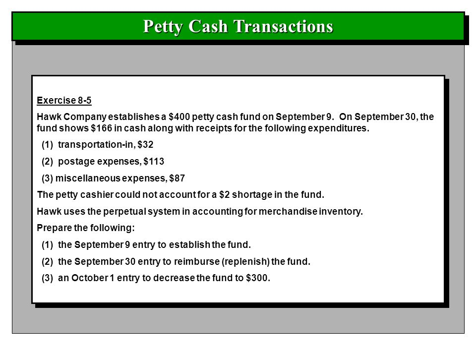 Petty Cash Transactions