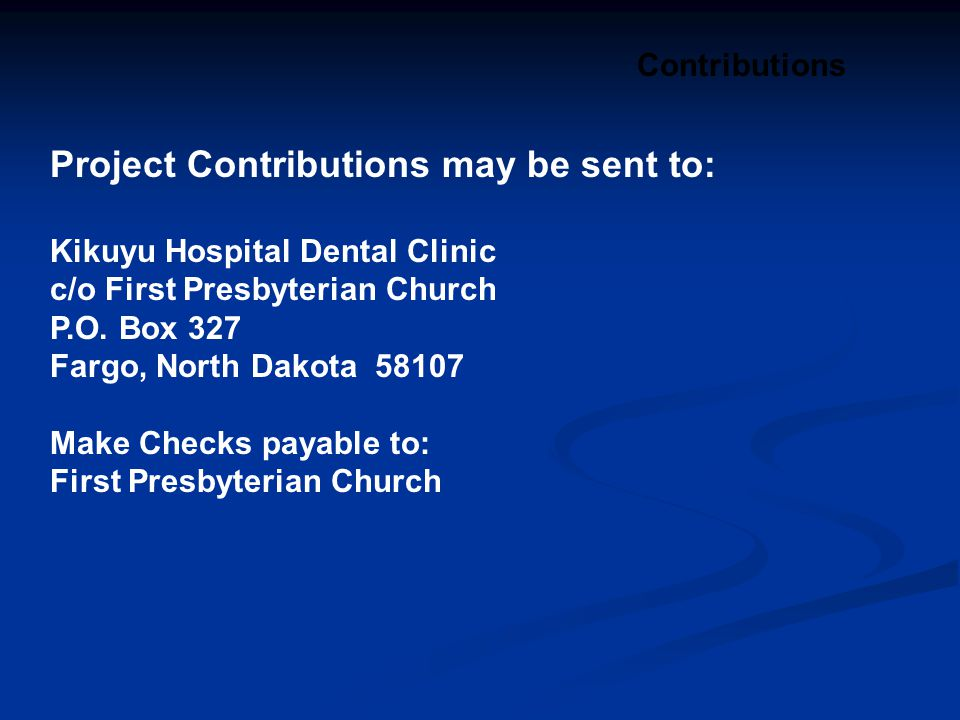 Project Contributions may be sent to: