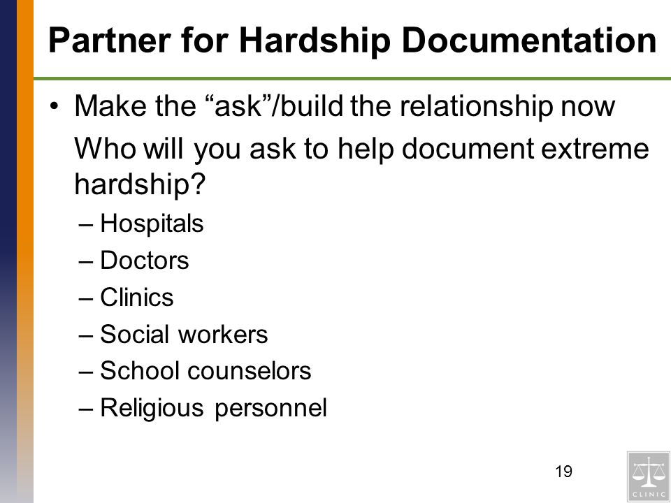 Partner for Hardship Documentation