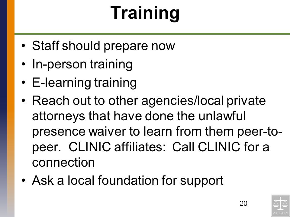 Training Staff should prepare now In-person training