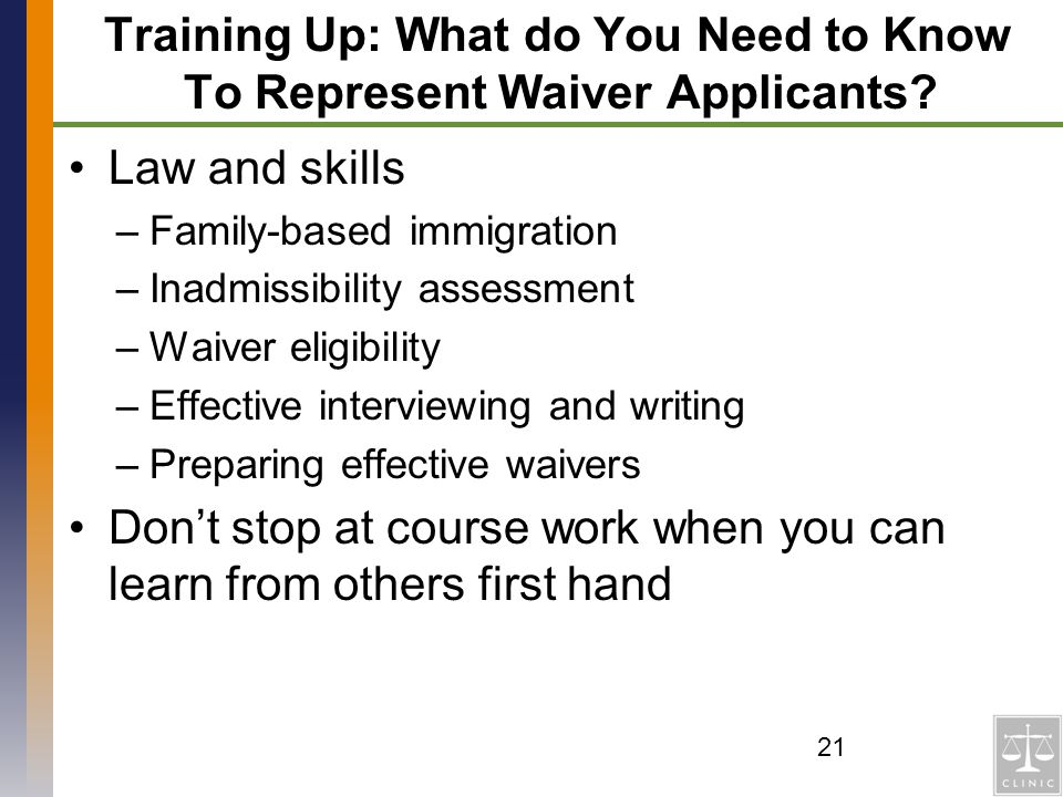 Training Up: What do You Need to Know To Represent Waiver Applicants