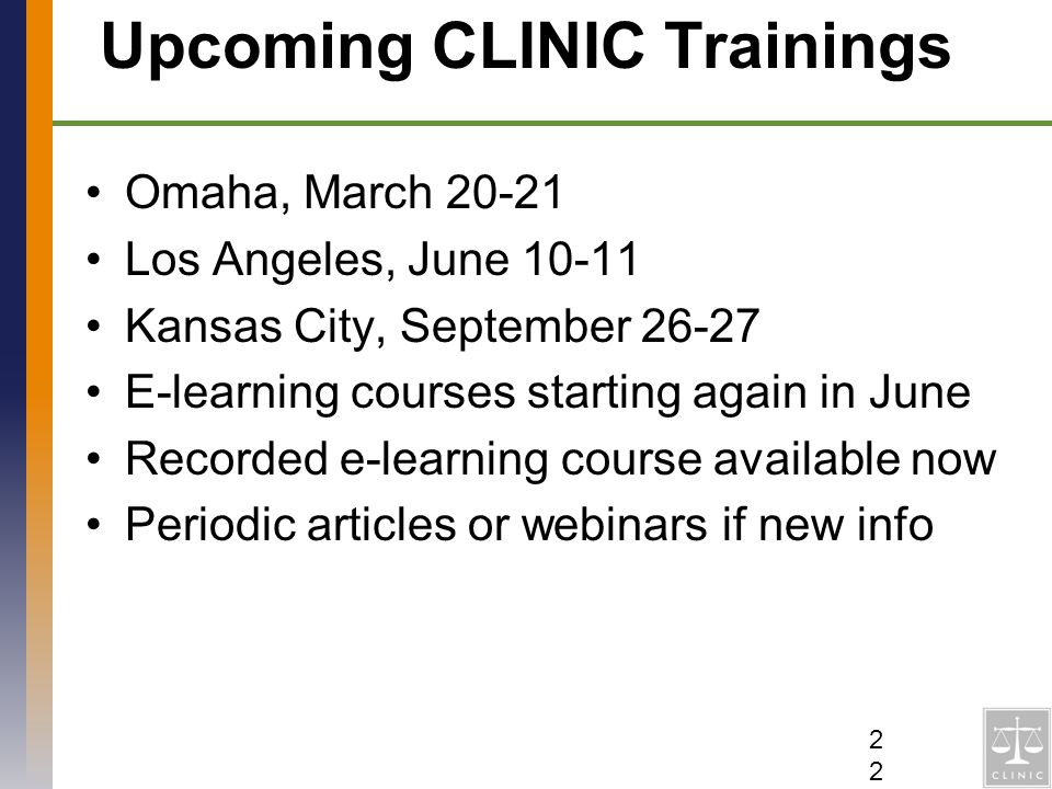 Upcoming CLINIC Trainings