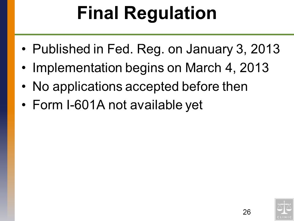 Final Regulation Published in Fed. Reg. on January 3, 2013
