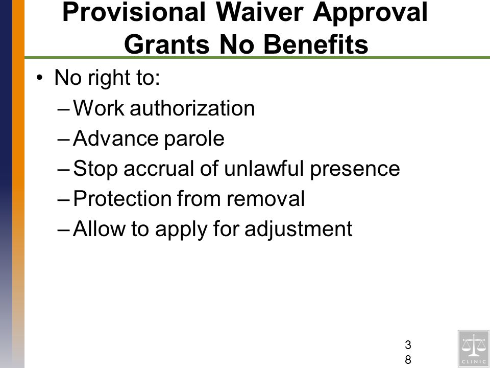 Provisional Waiver Approval Grants No Benefits