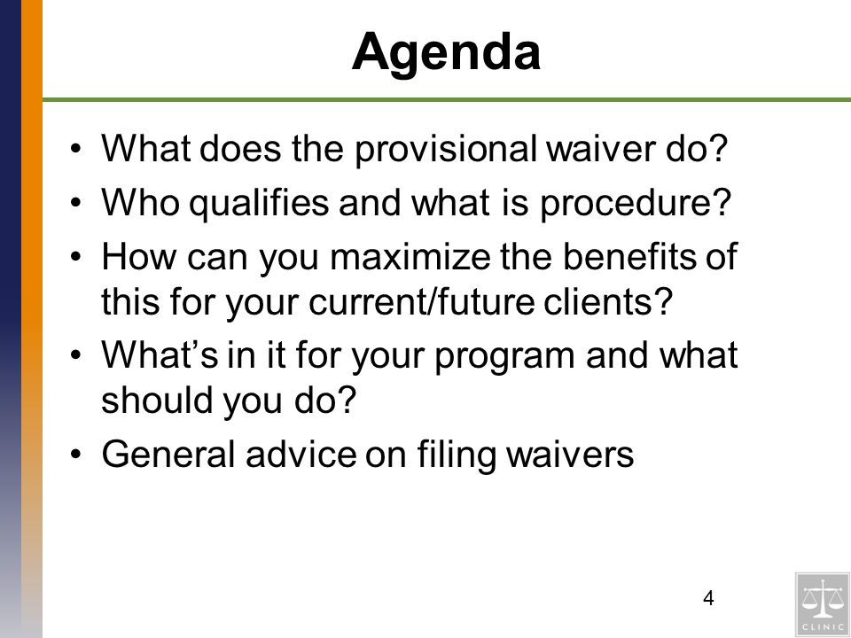 Agenda What does the provisional waiver do