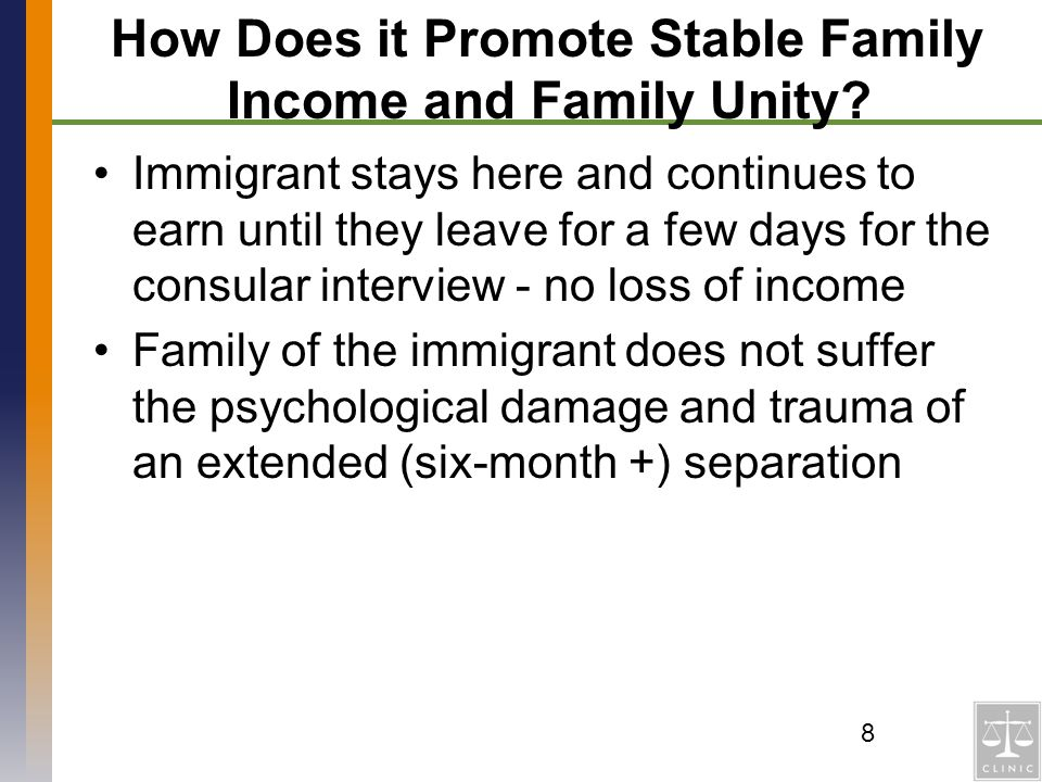 How Does it Promote Stable Family Income and Family Unity
