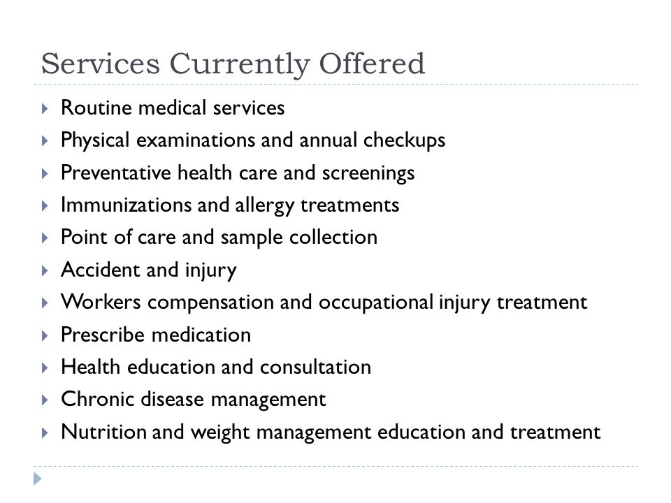 Services Currently Offered
