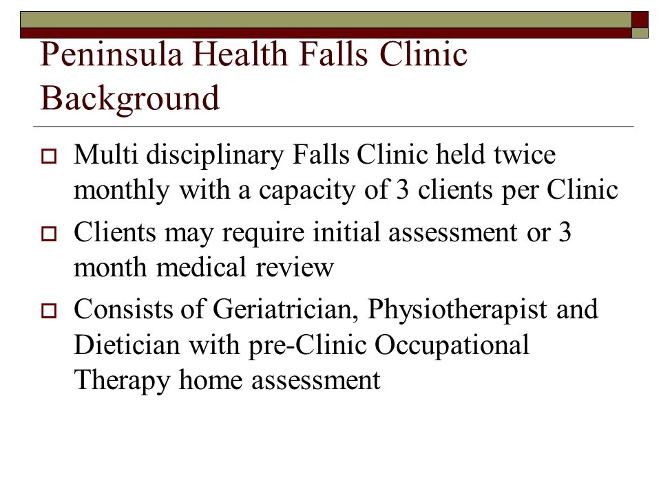 Peninsula Health Falls Clinic Background