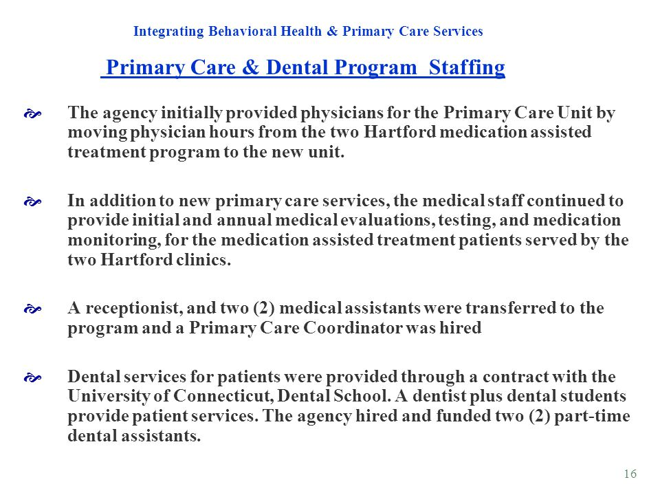 Primary Care & Dental Program Staffing