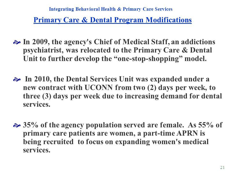 Primary Care & Dental Program Modifications