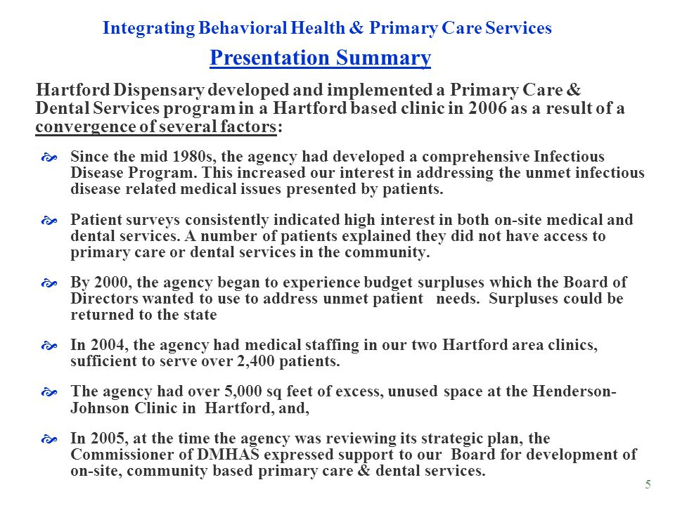 Integrating Behavioral Health & Primary Care Services