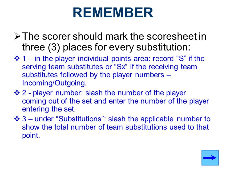 REMEMBER The scorer should mark the scoresheet in three (3) places for every substitution: