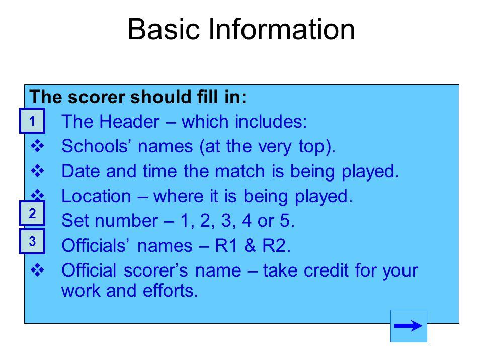 Basic Information The scorer should fill in: