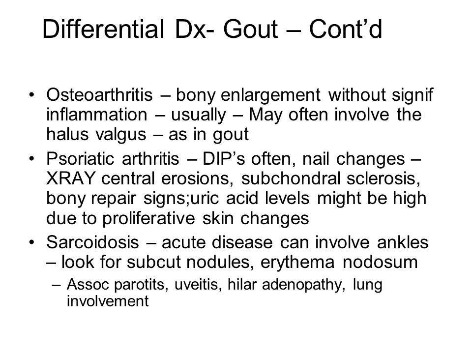 Differential Dx- Gout – Cont'd