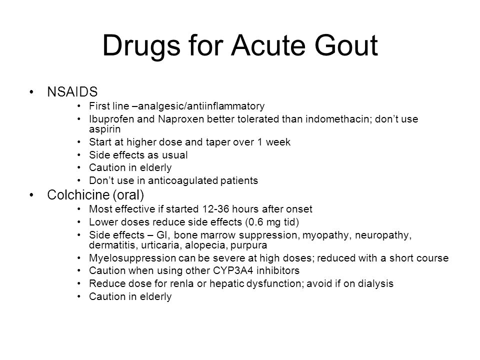 Drugs for Acute Gout NSAIDS Colchicine (oral)