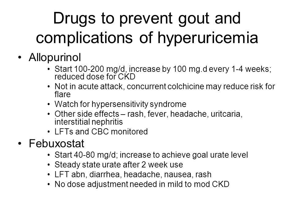 Drugs to prevent gout and complications of hyperuricemia