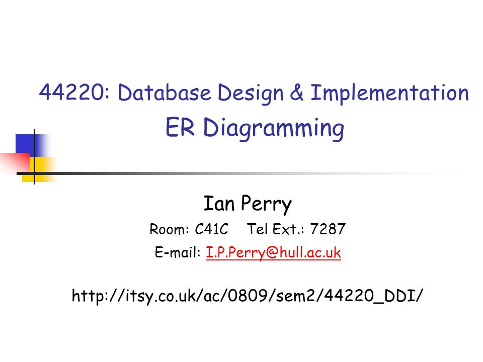 44220: Database Design & Implementation ER Diagramming