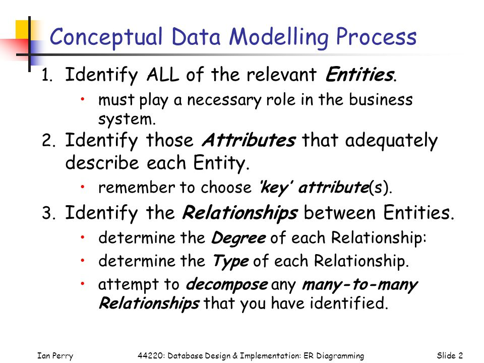 Conceptual Data Modelling Process