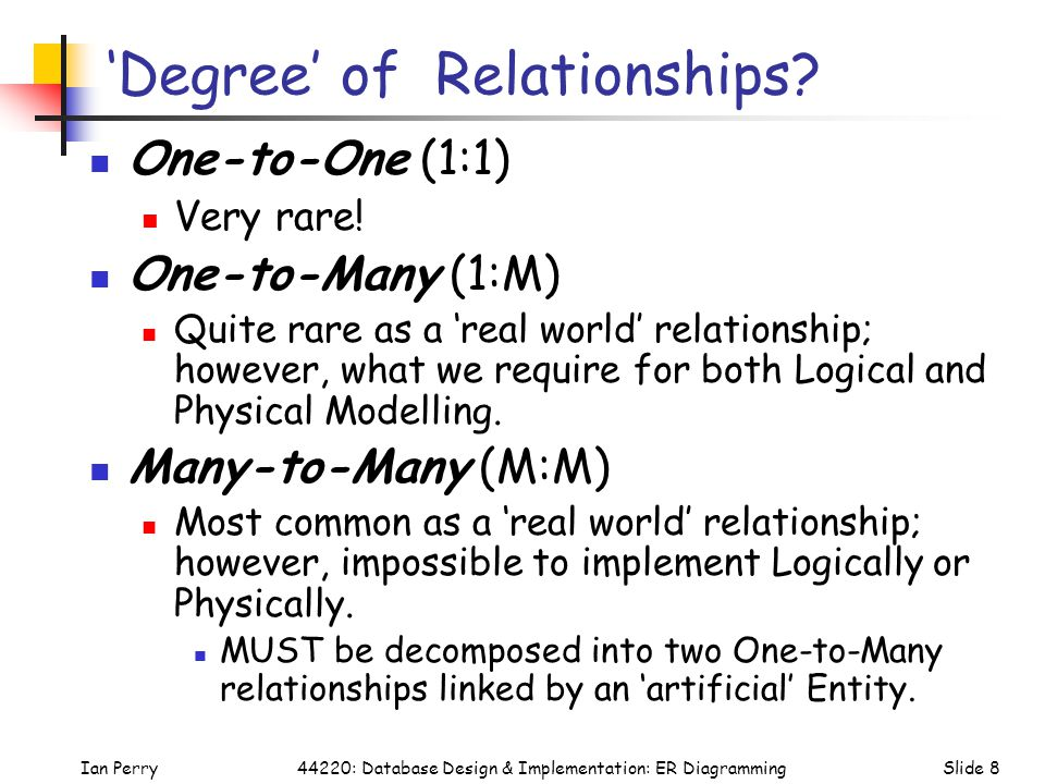 'Degree' of Relationships