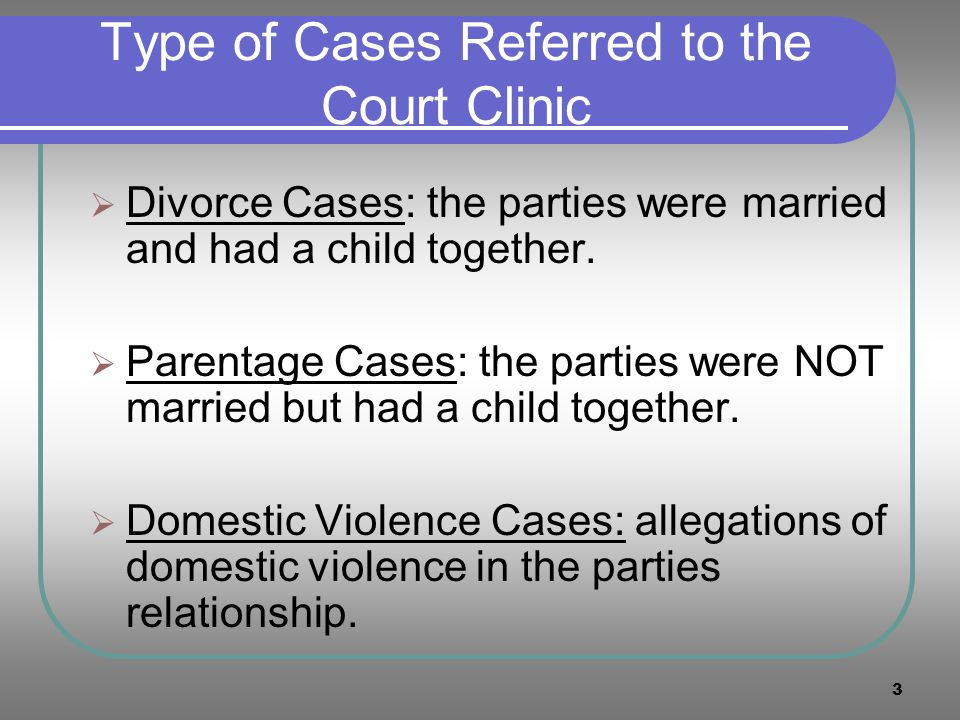 Type of Cases Referred to the Court Clinic