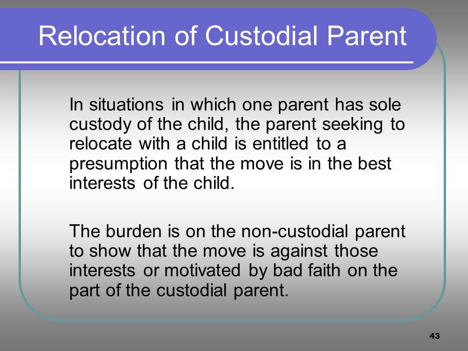 Relocation of Custodial Parent