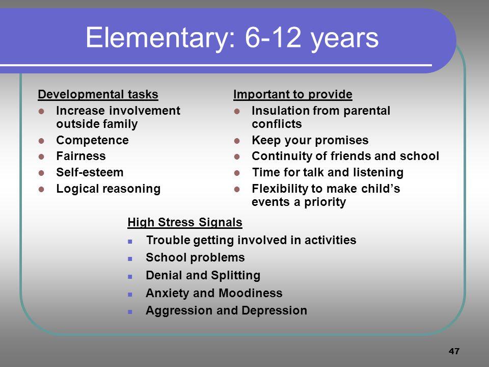 Elementary: 6-12 years Developmental tasks