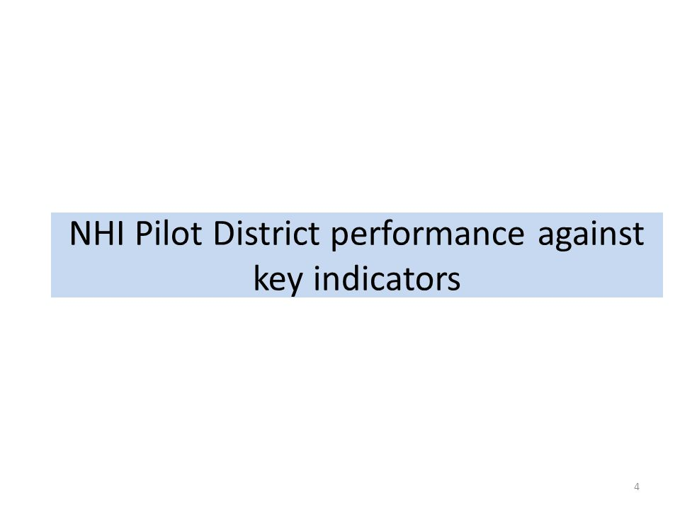 NHI Pilot District performance against key indicators
