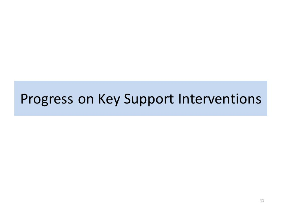 Progress on Key Support Interventions