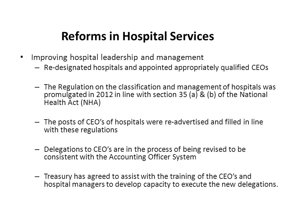 Reforms in Hospital Services
