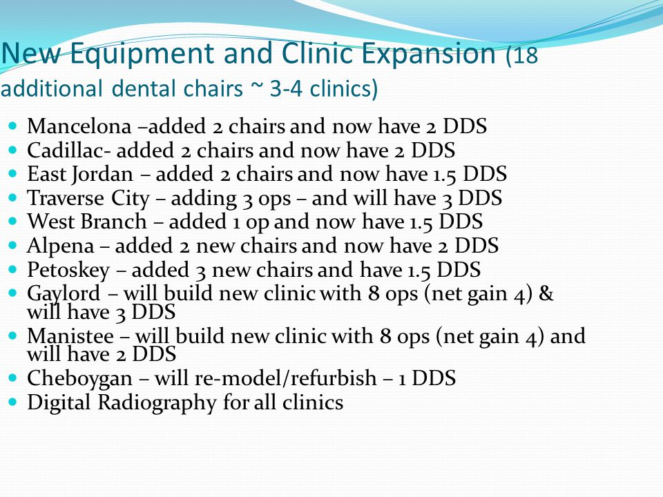 New Equipment and Clinic Expansion (18 additional dental chairs ~ 3-4 clinics)