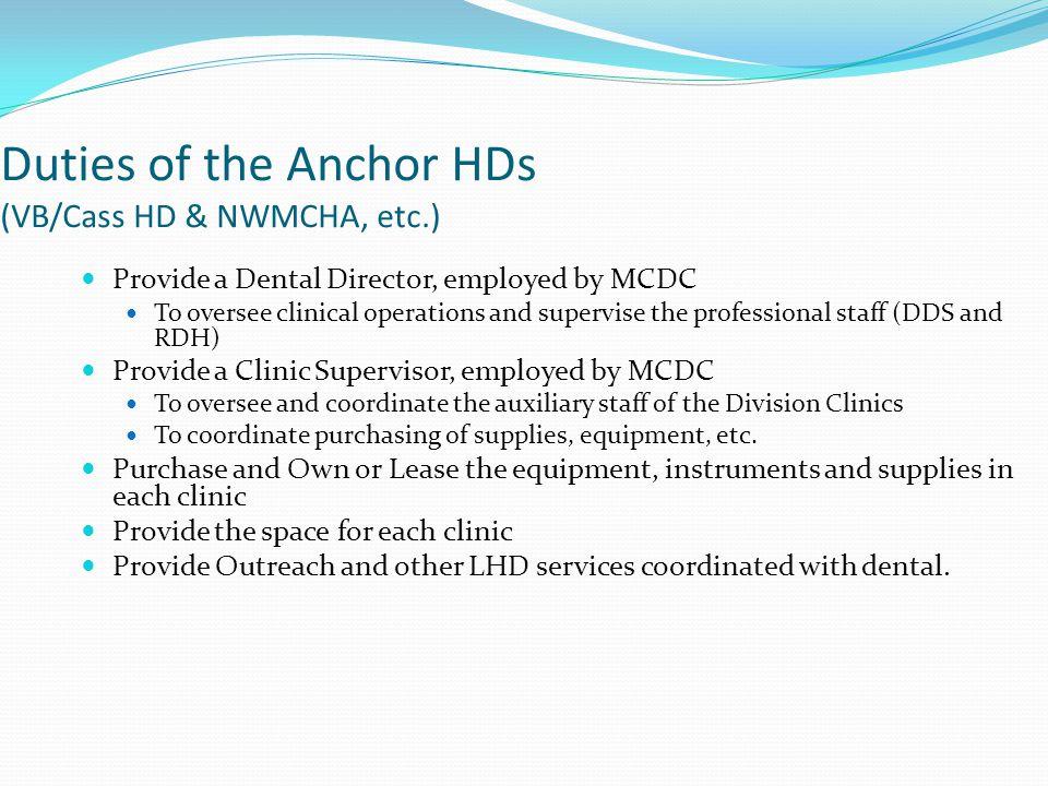 Duties of the Anchor HDs (VB/Cass HD & NWMCHA, etc.)