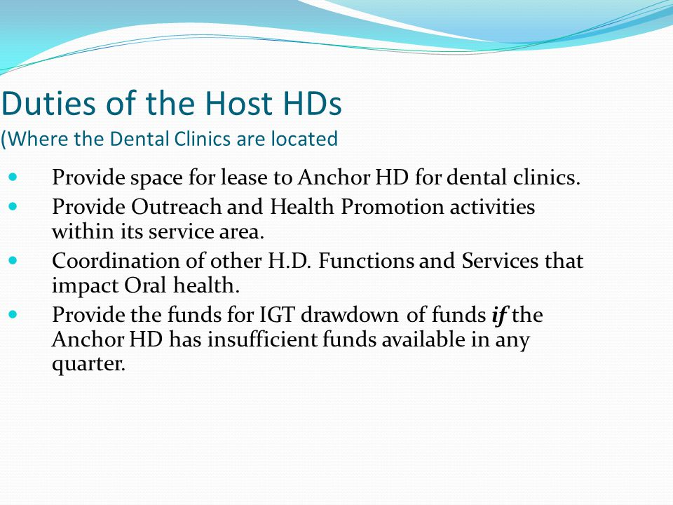 Duties of the Host HDs (Where the Dental Clinics are located