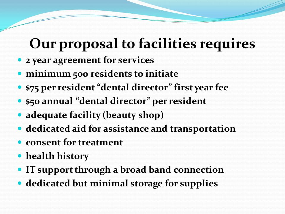 Our proposal to facilities requires