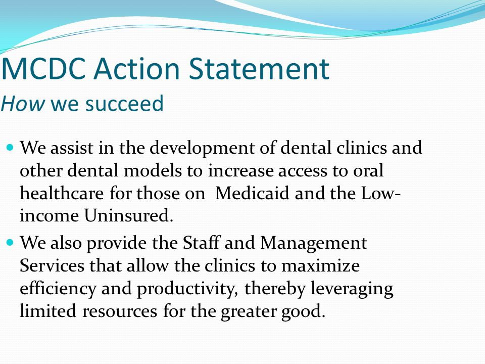 MCDC Action Statement How we succeed