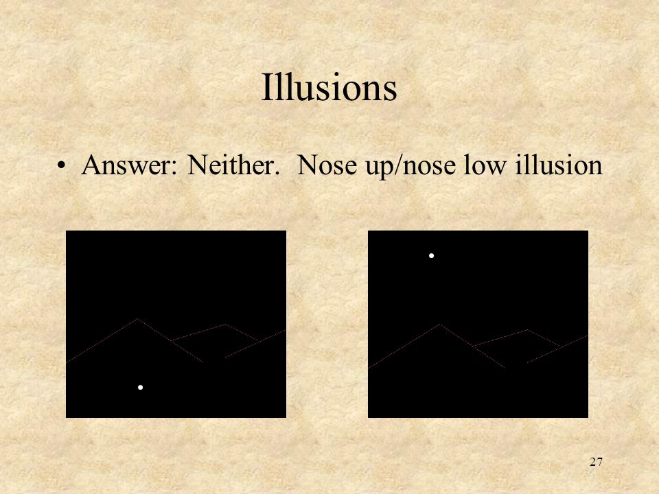 Illusions Answer: Neither. Nose up/nose low illusion