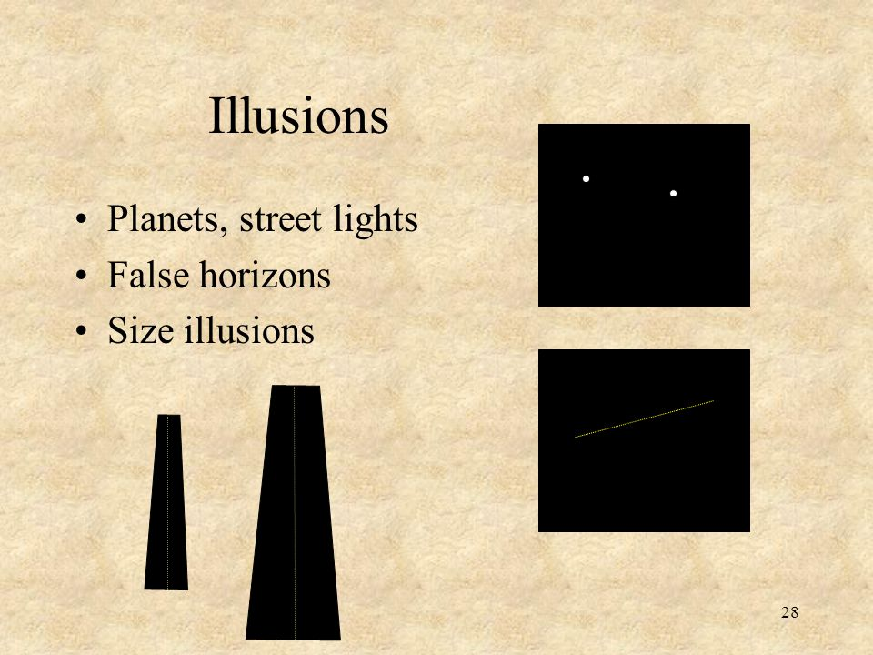 Illusions Planets, street lights False horizons Size illusions