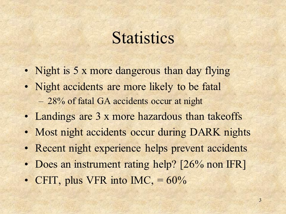 Statistics Night is 5 x more dangerous than day flying
