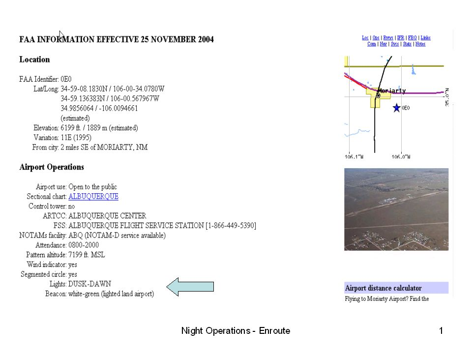 Example of information from an online website (airnav
