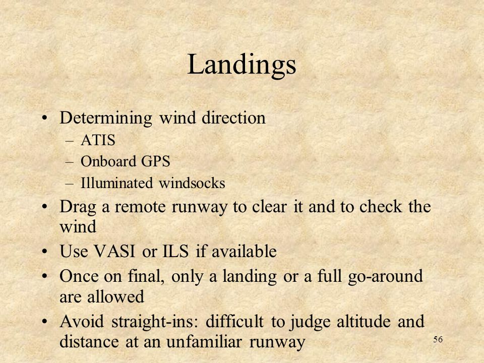 Landings Determining wind direction