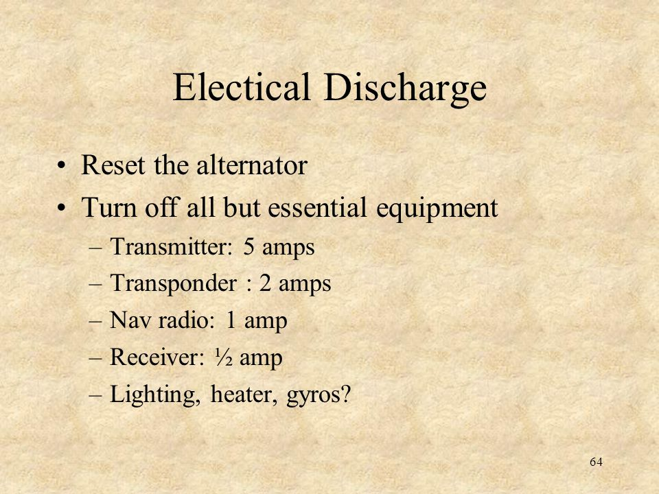 Electical Discharge Reset the alternator