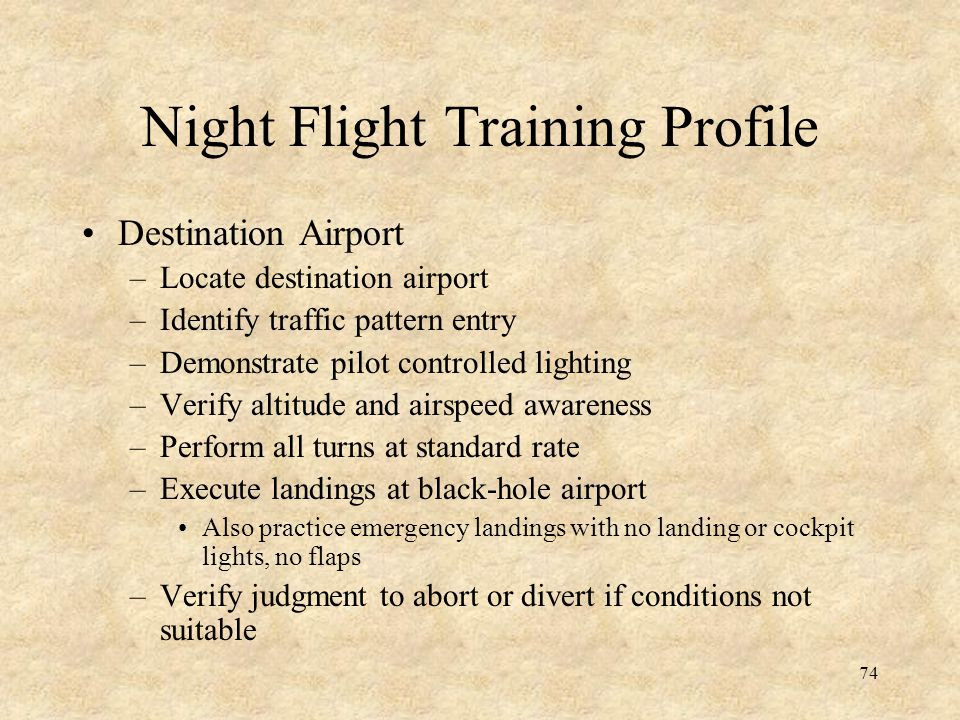 Night Flight Training Profile