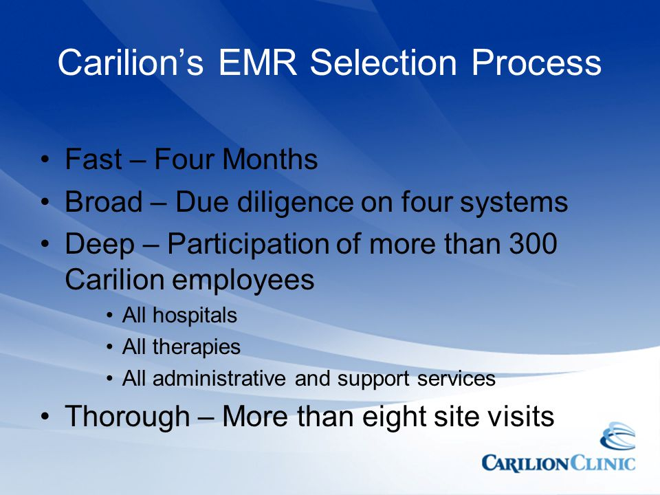 Carilion's EMR Selection Process