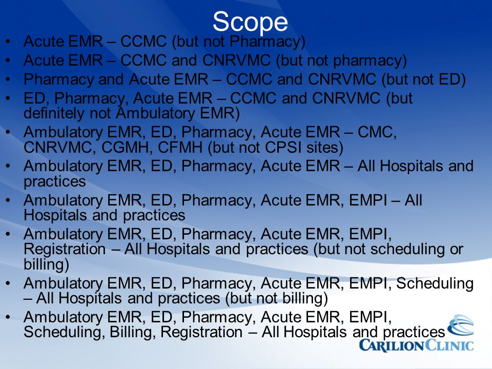 Scope Acute EMR – CCMC (but not Pharmacy)