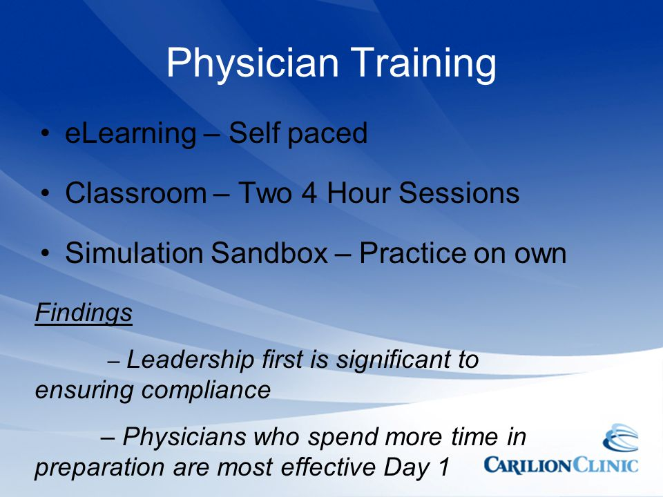 Physician Training eLearning – Self paced
