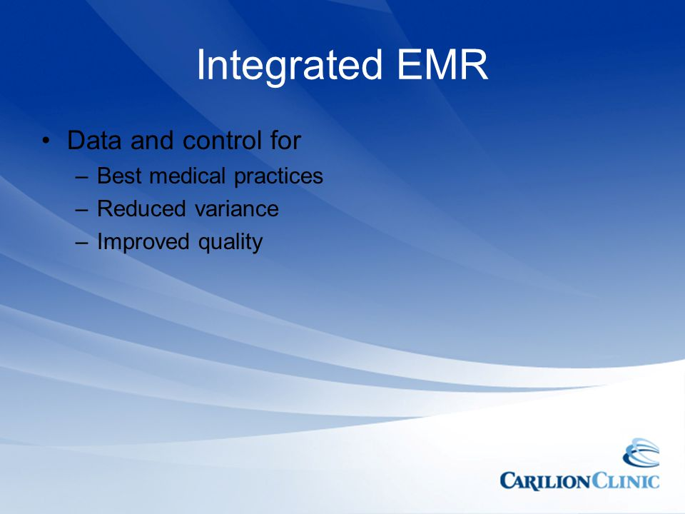 Integrated EMR Data and control for Best medical practices