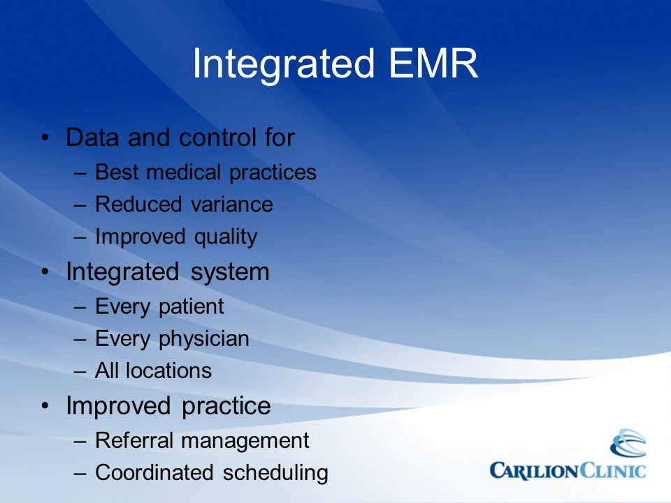 Integrated EMR Data and control for Integrated system