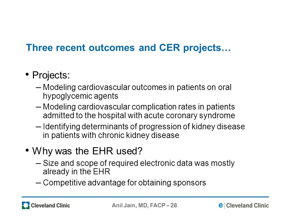 Three recent outcomes and CER projects…