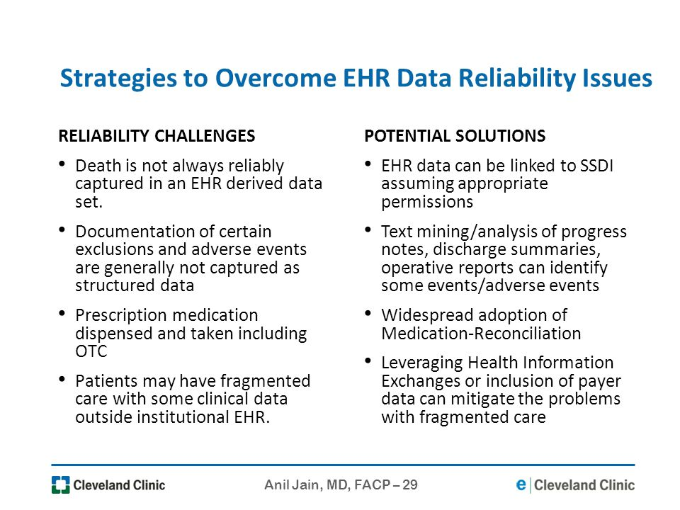 Strategies to Overcome EHR Data Reliability Issues